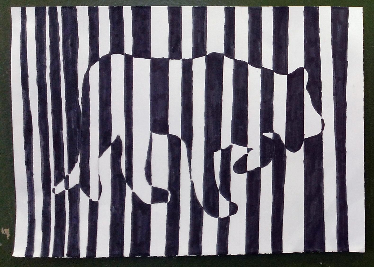 Une lionne en code barres  la mani¨re de Vasarely Une lionne en code barres  la mani¨re de Vasarely