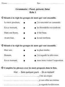 Ce1 pass pr sent futur la classe des gnomes - Grammaire ce1 a imprimer ...