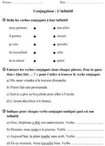 Ce1 l 39 infinitif du verbe la classe des gnomes - Grammaire ce1 a imprimer ...