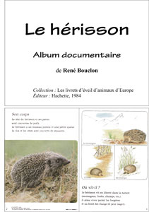 Le Herisson Album Documentaire La Classe Des Gnomes