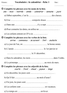Evaluation Calendrier Ce1.Ce1 Vocabulaire Lexique Du Temps Qui Passe La Classe