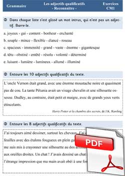 L'adjectif qualificatif - Fiches d'exercices CM1