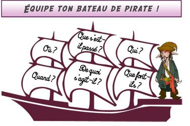Le bateau pirate - jeu sur les inférences - le plateau de jeu
