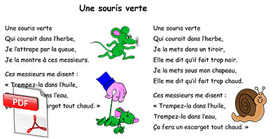 Comptine Une souris verte - paroles A5