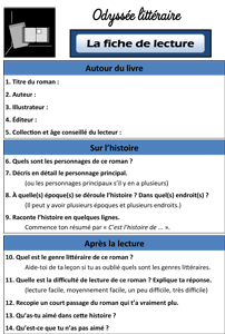 L'odyssée littéraire : la fiche de lecture ~ La Classe des ...