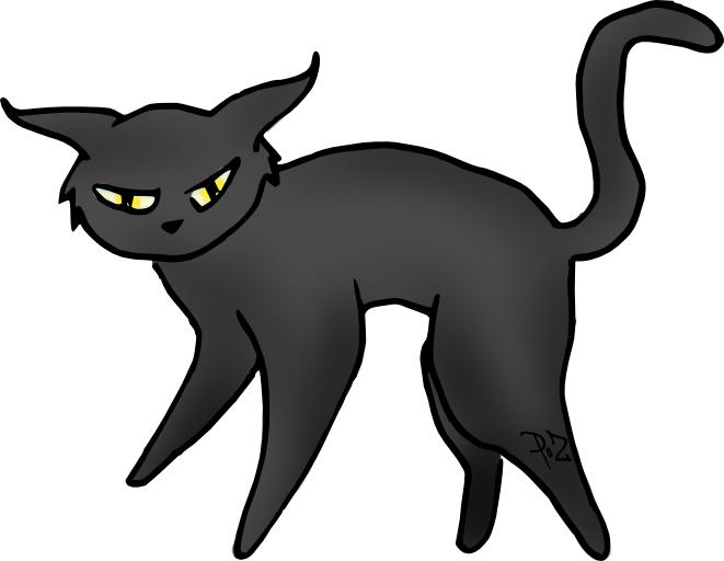 Le chat noir - Dessin chat halloween ...